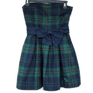 Abercrombie & Fitch Plaid Fleece Bow Skater Dress